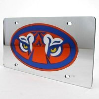 Auburn Inlaid Acrylic License Plate - Silver