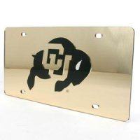 Colorado Buffaloes Inlaid Acrylic License Plate - Gold