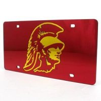 Usc Inlaid Acrylic License Plate - Red