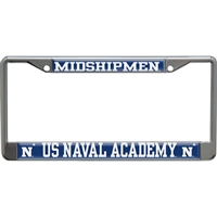 Navy Metal License Plate Frame W/domed Insert