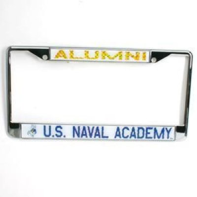 Navy Alumni Metal License Plate Frame W Domed Insert