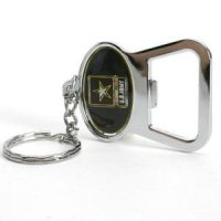 U.s. Army Metal Key Chain And Bottle Opener W/domed Insert