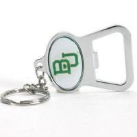 Baylor Metal Key Chain And Bottle Opener W/domed Insert