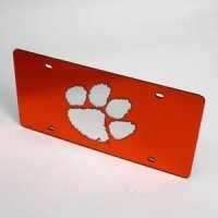 Clemson License Plate - Orange W/ Mirrored Acrylic Paw