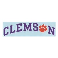 Clemson Decal - Arched Clemson With Paw