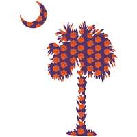 Clemson Decal - Palm, Moon With Paws