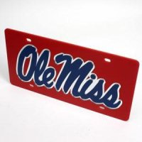Ole Miss License Plate - Red