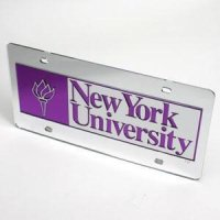 New York University License Plate - Mirrored Silver