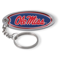Mississippi Metal Key Chain W/domed Insert - Red Background