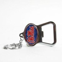 Mississippi Metal Key Chain And Bottle Opener W/domed Insert - Blue Background