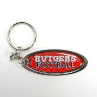 Rutgers Metal Key Chain W/domed Insert - Red Background
