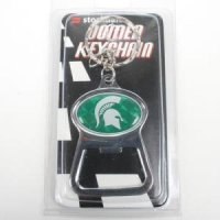 Michigan State Metal Key Chain And Bottle Opener W/domed Insert