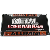 Oregon State Beavers Alumni Metal License Plate Frame W/domed Insert - Orange Background