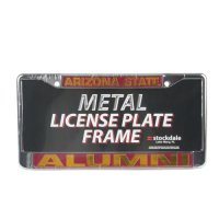 Arizona State Sun Devils Alumni Metal License Plate Frame W/dome Insert - Maroon Background