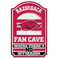 Arkansas Razorbacks Fan Cave Wood Sign