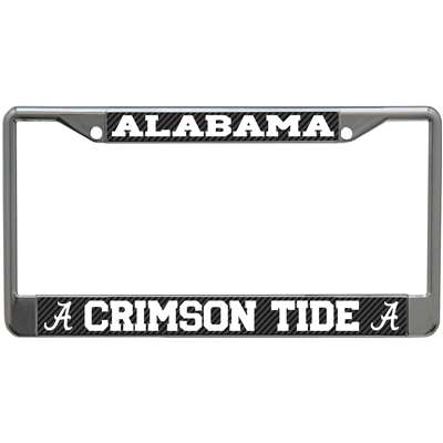 Alabama Crimson Tide Metal License Plate Frame - Carbon Fiber