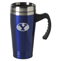 Byu Cougars Engraved 16oz Stainless Steel Travel Mug - Blue