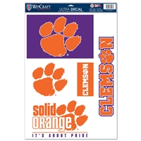"Clemson Ultra Decal Set 11"" X 17"""