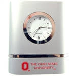 Ohio State Brushed Silver Desk Clock