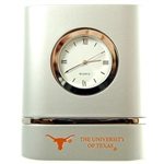 Texas Brushed Silver Desk Clock