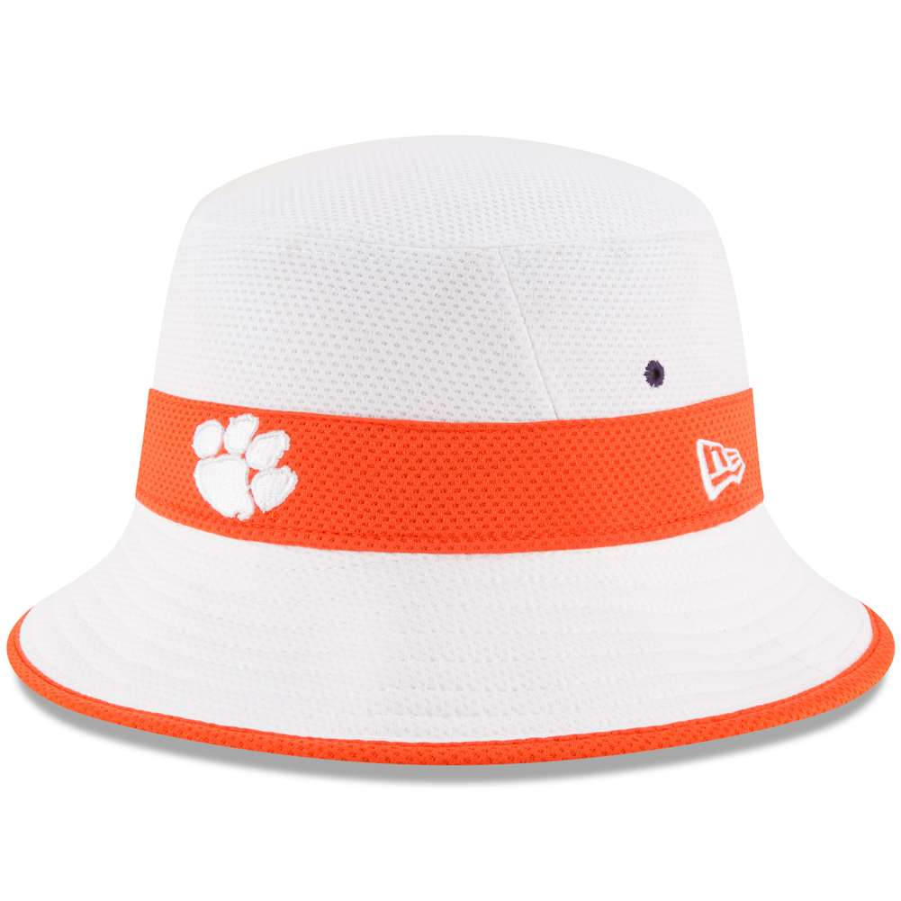 Clemson Tigers New Era Training Bucket Hat - White 8d527367c34f