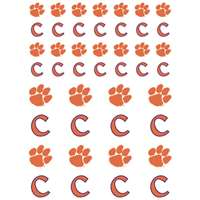 Clemson Tigers Small Sticker Sheet - 2 Sheets