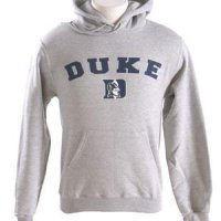 Duke Hooded Sweatshirt - Duke Arched Over Devil Logo - By Champion - Heather Gray