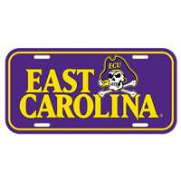 East Carolina Pirates Plastic License Plate