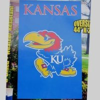 "Kansas Jayhawks 2-sided Applique 44"" X 28"" Banner"