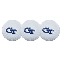 Golf ball pack contains three, durable cover, two-piece construction balls, printed with collegiate trademark.