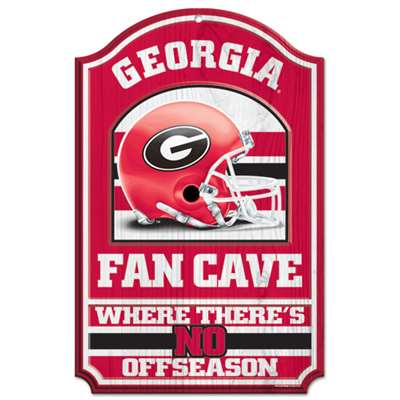 Georgia Bulldogs Fan Cave Wood Sign
