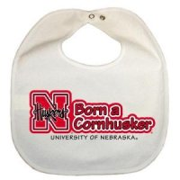 Nebraska Newborn Vinyl Snap Bib - All White