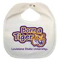 Lsu Newborn Vinyl Snap Bib - All White