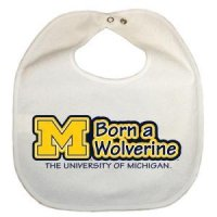 Michigan Newborn Vinyl Snap Bib - All White