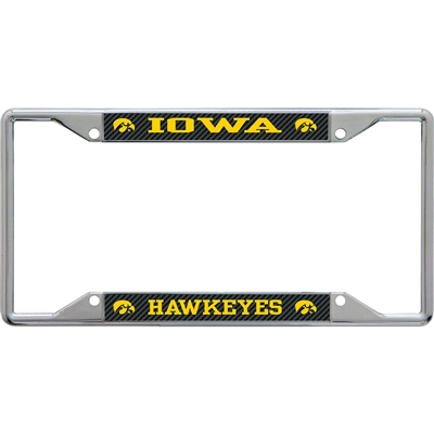 Iowa Hawkeyes Metal License Plate Frame - Carbon Fiber