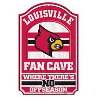 Louisville Cardinals Fan Cave Wood Sign