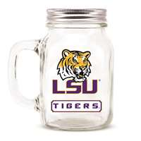 Lsu Tigers Glass Mason Jar Mug w/Lid