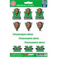 Marshall Thundering Herd Mini Decals - 12 Pack