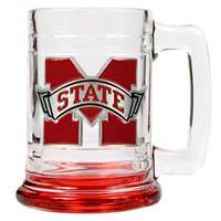 Mississippi State Bulldogs 15oz Glass Tankard - Maroon Bottom