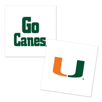Miami Hurricanes Temporary Tattoo - 4 Pack