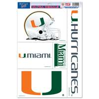 Miami Hurricanes Ultra Decal Set - 11'' X 17''
