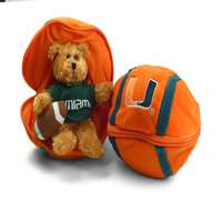 Miami Hurricanes Stuffed Bear in a Ball - Football