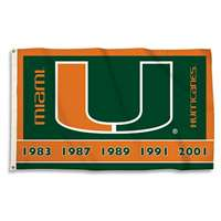 Miami Hurricanes 3' X 5' Flag - Championship Years