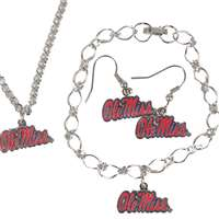 Mississippi Ole Miss Rebels Jewelry Set - Earrings Bracelet and Necklace