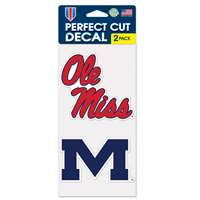 "Mississippi Ole Miss Rebels Perfect Cut Decal 4"" x 4"" - Set of 2"