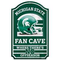 Michigan State Spartans Fan Cave Wood Sign