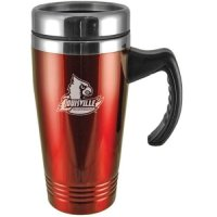 Louisville Cardinals Engraved 16oz Stainless Steel Travel Mug - Red