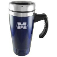 Michigan Wolverines Engraved 16oz Stainless Steel Travel Mug - Blue