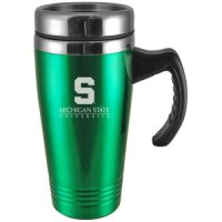 Michigan State Spartans Engraved 16oz Stainless Steel Travel Mug - Green