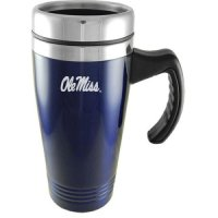 Mississippi Rebels Engraved 16oz Stainless Steel Travel Mug - Blue
